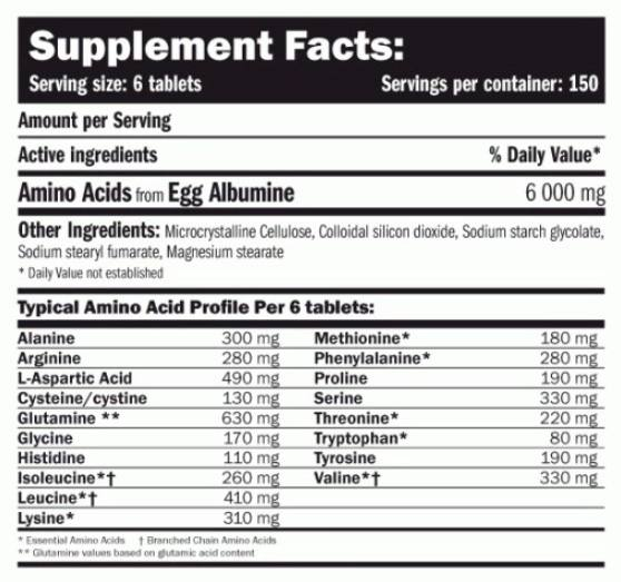 amin egg amino 6000 supplement facts