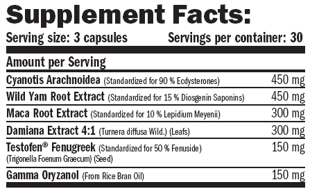 amix ecdy-sterones supplement facts