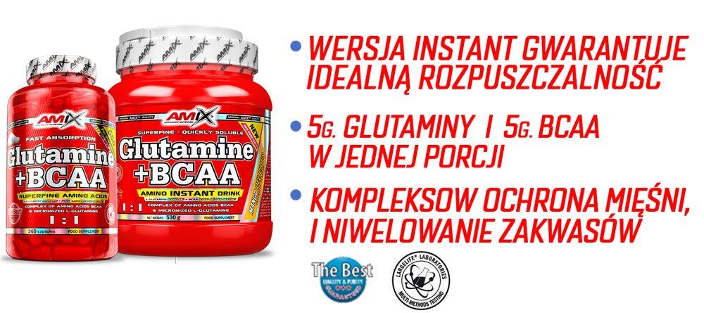 amix glutamine + BCAA właściwości